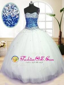 Tulle Sleeveless Floor Length Sweet 16 Dress and Beading