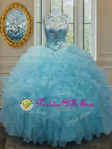 Scoop Sleeveless Organza Floor Length Lace Up Quince Ball Gowns in Aqua Blue for with Beading and Ruffles