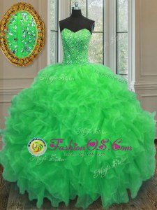 Green Ball Gowns Sweetheart Sleeveless Organza Floor Length Lace Up Beading and Ruffles 15 Quinceanera Dress