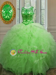 Scoop Sleeveless Tulle Lace Up Quinceanera Gown for Military Ball and Sweet 16 and Quinceanera