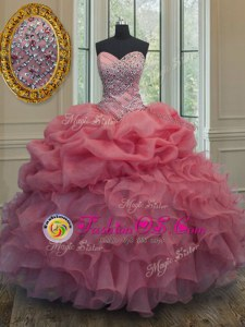 Organza Sleeveless Floor Length Quinceanera Gowns and Beading and Ruffles and Pick Ups