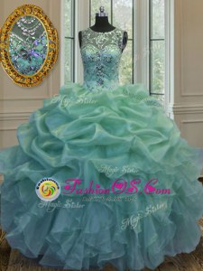 Scoop Sleeveless Organza Quinceanera Dress Beading and Ruffles and Pick Ups Lace Up