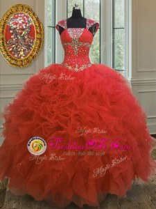 Artistic Straps Floor Length Coral Red 15th Birthday Dress Organza Cap Sleeves Beading and Ruffles and Sequins