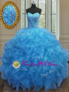 Captivating Sleeveless Beading and Ruffles Side Zipper Quinceanera Dress