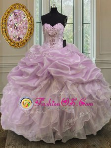 Glamorous Organza Sleeveless Floor Length Quinceanera Dresses and Beading and Ruffles