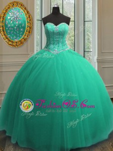 Sequins Ball Gowns 15th Birthday Dress Turquoise Sweetheart Tulle Sleeveless Floor Length Lace Up