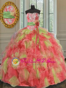 Fitting Multi-color Sleeveless Organza Lace Up Quince Ball Gowns for Military Ball and Sweet 16 and Quinceanera