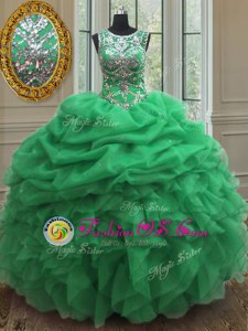 Hot Selling Scoop Beading and Ruffles and Pick Ups Quinceanera Dress Lace Up Sleeveless Floor Length