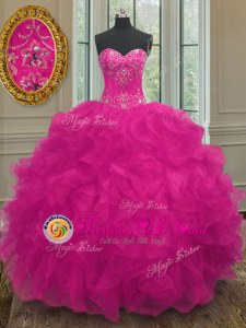 Amazing Off the Shoulder Pink Ball Gowns Hand Made Flower 15th Birthday Dress Lace Up Organza Short Sleeves With Train