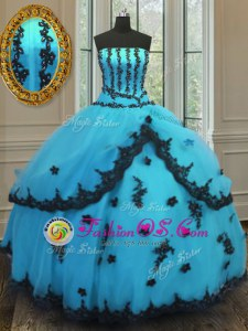 Strapless Sleeveless Quinceanera Dress Floor Length Appliques Aqua Blue Tulle