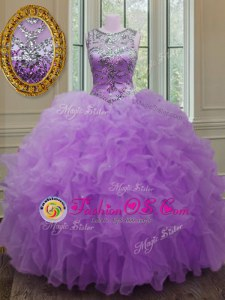 Lilac Ball Gowns Scoop Sleeveless Organza Floor Length Lace Up Beading and Ruffles Quince Ball Gowns