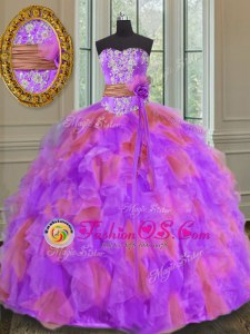 Elegant Sleeveless Beading and Ruffles Lace Up Sweet 16 Quinceanera Dress