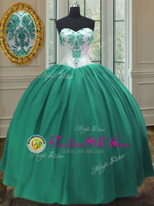 Sweetheart Sleeveless Lace Up Quinceanera Dresses Turquoise Taffeta