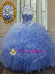 Blue Ball Gowns Scoop Sleeveless Organza Floor Length Lace Up Beading and Ruffles Quinceanera Dresses