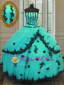 Fine Floor Length Turquoise Quinceanera Dress Strapless Sleeveless Lace Up