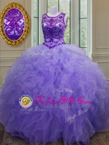 Bateau Sleeveless 15 Quinceanera Dress Floor Length Beading and Ruffles Lavender Tulle
