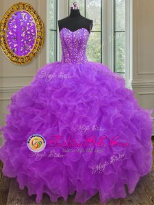 Halter Top Purple Ball Gowns Beading and Ruffled Layers and Pick Ups 15th Birthday Dress Lace Up Organza Sleeveless Floor Length