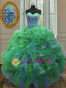 High End Multi-color Organza Lace Up Quinceanera Gowns Sleeveless Floor Length Beading and Ruffles