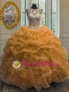 Trendy Multi-color Lace Up Sweetheart Beading and Appliques and Ruffles and Sashes|ribbons and Hand Made Flower Quinceanera Gown Organza Sleeveless