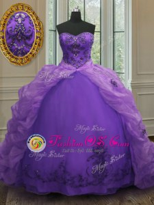 Purple Lace Up Quinceanera Dresses Beading and Appliques and Pick Ups Sleeveless With Train Court Train