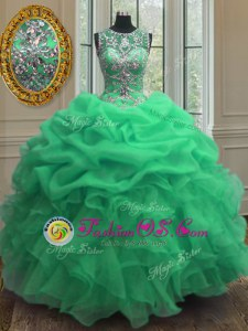 Scoop Sleeveless Organza Vestidos de Quinceanera Beading and Ruffles Lace Up