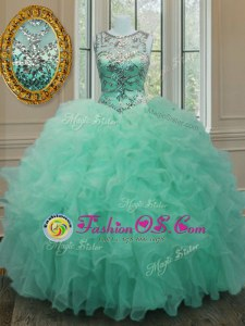 Romantic Scoop Apple Green Lace Up Sweet 16 Quinceanera Dress Beading and Ruffles Sleeveless Floor Length