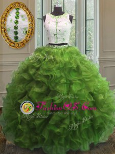 Colorful Green Ball Gowns Scoop Sleeveless Organza Floor Length Clasp Handle Appliques and Ruffles Quinceanera Dress