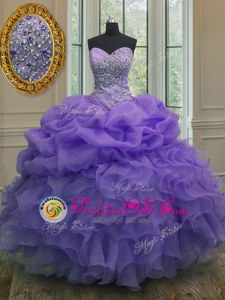 Pretty Pick Ups Lavender Sleeveless Organza Lace Up Sweet 16 Dresses for Military Ball and Sweet 16 and Quinceanera
