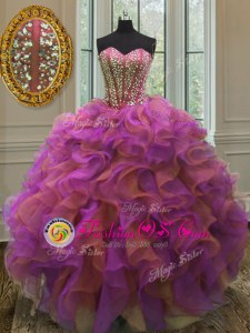 Multi-color Ball Gowns Beading and Ruffles Quinceanera Gowns Lace Up Organza Sleeveless Floor Length
