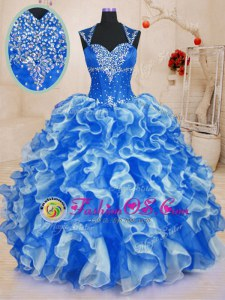 Modern Floor Length Royal Blue 15 Quinceanera Dress Sweetheart Sleeveless Lace Up
