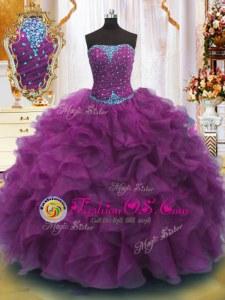 Trendy Strapless Sleeveless Lace Up Vestidos de Quinceanera Purple Organza
