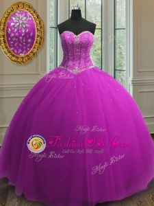 Designer Beading and Sequins Sweet 16 Dress Purple Lace Up Sleeveless Floor Length
