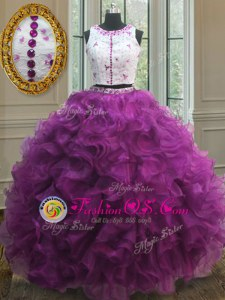Fashionable Fuchsia Sweet 16 Quinceanera Dress Military Ball and Sweet 16 and Quinceanera and For with Appliques and Ruffles Scoop Sleeveless Clasp Handle
