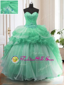 Dramatic Sleeveless With Train Beading Lace Up Quinceanera Gown with Apple Green Sweep Train
