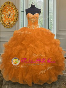 Most Popular Straps Sleeveless 15th Birthday Dress Floor Length Beading and Ruffles and Pick Ups Organza