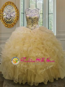 Scoop Floor Length Ball Gowns Sleeveless Light Yellow Sweet 16 Dress Lace Up