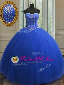 Dynamic Sweetheart Sleeveless Quinceanera Gown Floor Length Beading and Sequins Royal Blue Tulle