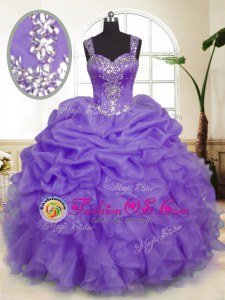 Lavender Sleeveless Beading and Ruffles and Pick Ups Floor Length Sweet 16 Quinceanera Dress