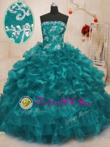 Smart Turquoise Sleeveless Organza Lace Up Quinceanera Gown for Military Ball and Sweet 16 and Quinceanera