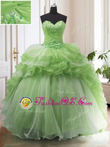 Sweet Lace Up Sweetheart Beading and Ruffled Layers Vestidos de Quinceanera Organza Sleeveless Court Train