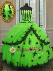 Noble Sleeveless Appliques Lace Up Quinceanera Dresses