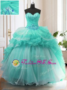 With Train Turquoise Sweet 16 Quinceanera Dress Organza Sweep Train Sleeveless Beading and Ruffles