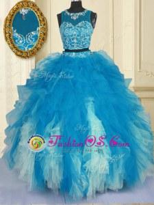Romantic Scoop Sleeveless Beading and Ruffles Zipper Quinceanera Dresses