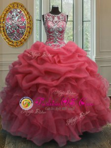 Scoop Red Clasp Handle 15 Quinceanera Dress Appliques and Ruffles Sleeveless Floor Length