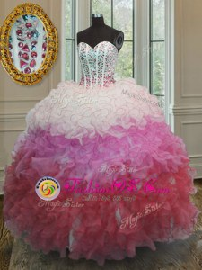 Sweetheart Sleeveless Quinceanera Dresses Floor Length Beading and Ruffles and Sashes|ribbons Multi-color Organza