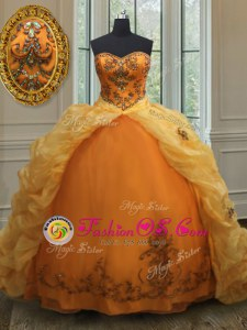 Pick Ups Orange Sleeveless Organza Court Train Lace Up Sweet 16 Quinceanera Dress for Military Ball and Sweet 16 and Quinceanera