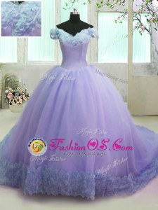 Elegant Off the Shoulder Hand Made Flower 15 Quinceanera Dress Lavender Lace Up Short Sleeves With Train Court Train