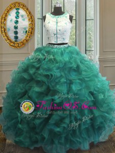 Noble Scoop Appliques and Ruffles Ball Gown Prom Dress Turquoise Clasp Handle Sleeveless Floor Length