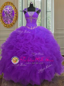 Purple Ball Gowns Straps Cap Sleeves Organza Floor Length Lace Up Beading and Ruffles and Sequins 15 Quinceanera Dress