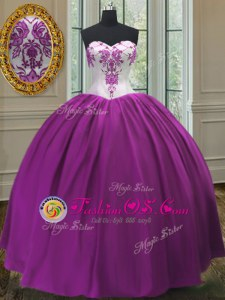 Purple Sweet 16 Dress Sweet 16 and Quinceanera and For with Beading Sweetheart Sleeveless Lace Up